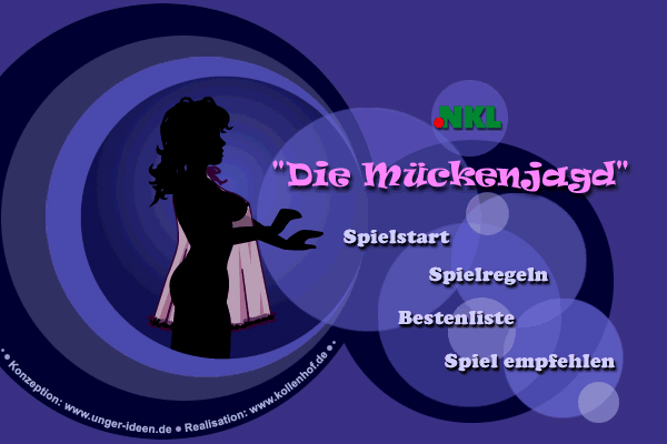Mueckenjagd title screen, showing a silouette of a woman in a nightgown